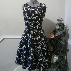 Talbot Black and White Floral Dress